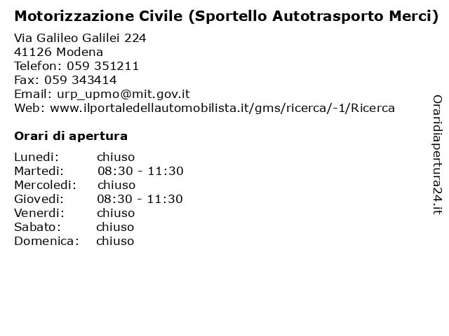 Motorizzazione Civile (Sportello Autotrasporto Merci) a Modena: indirizzo e orari di apertura