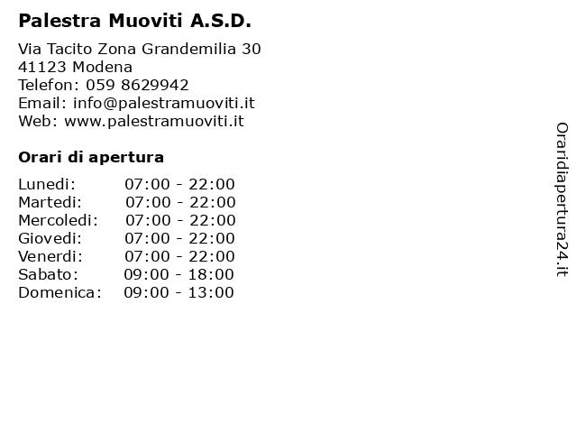 Palestra Muoviti A.S.D. a Modena: indirizzo e orari di apertura