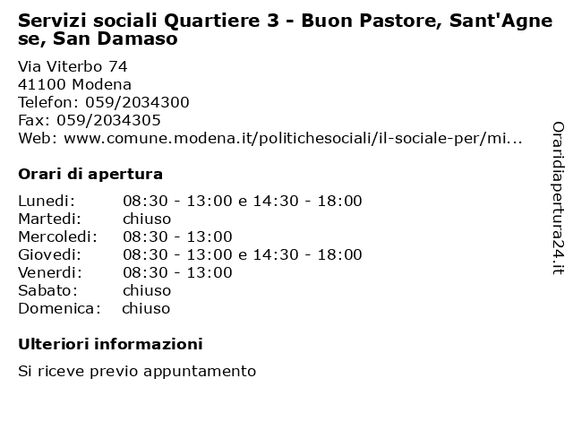 Servizi sociali Quartiere 3 - Buon Pastore, Sant'Agnese, San Damaso a Modena: indirizzo e orari di apertura