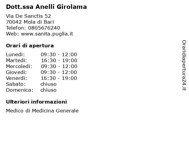 Dott. Anelli Girolama a Mola di Bari: indirizzo e orari di apertura