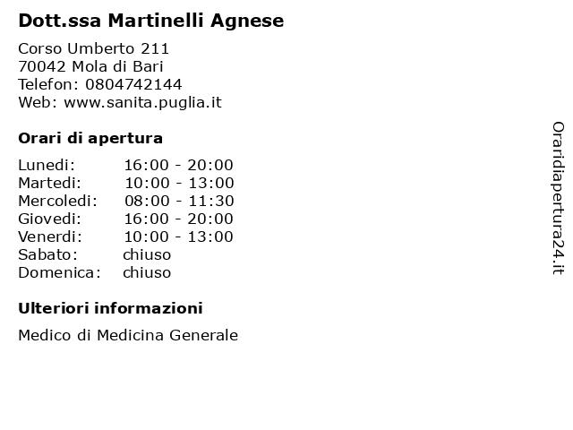 Dott. Martinelli Agnese a Mola di Bari: indirizzo e orari di apertura