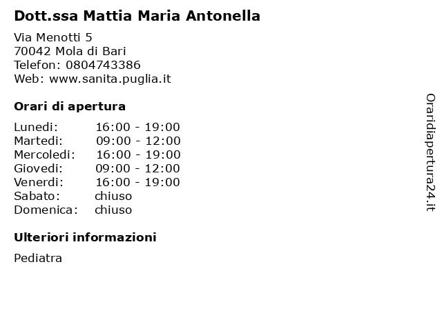 Dott. Mattia Maria Antonella a Mola di Bari: indirizzo e orari di apertura
