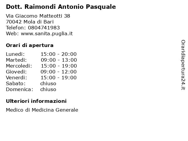 Dott. Raimondi Antonio Pasquale a Mola di Bari: indirizzo e orari di apertura