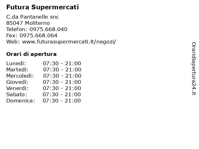 Futura Supermercati a Moliterno: indirizzo e orari di apertura
