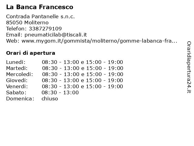 La Banca Francesco a Moliterno: indirizzo e orari di apertura