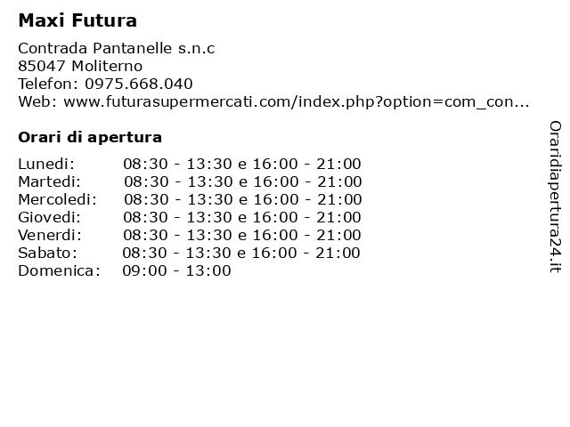 Maxi Futura a Moliterno: indirizzo e orari di apertura