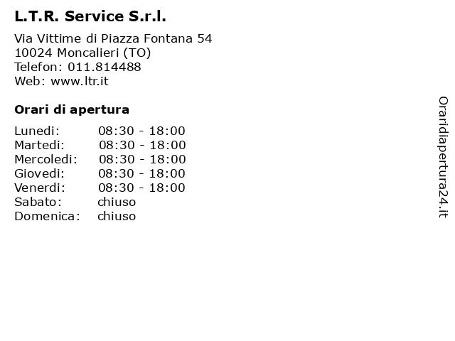 L.T.R. Service S.r.l. a Moncalieri (TO): indirizzo e orari di apertura