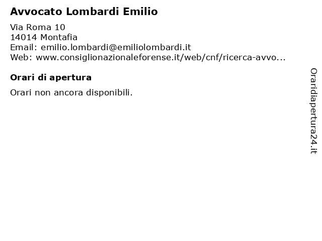 Avvocato Lombardi Emilio a Montafia: indirizzo e orari di apertura