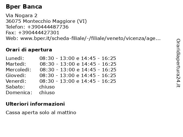 Bper Banca a Montecchio Maggiore (VI): indirizzo e orari di apertura