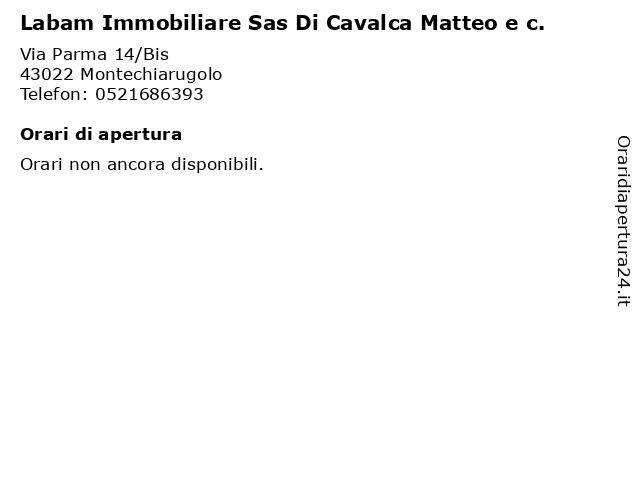 Labam Immobiliare Sas Di Cavalca Matteo e c. a Montechiarugolo: indirizzo e orari di apertura