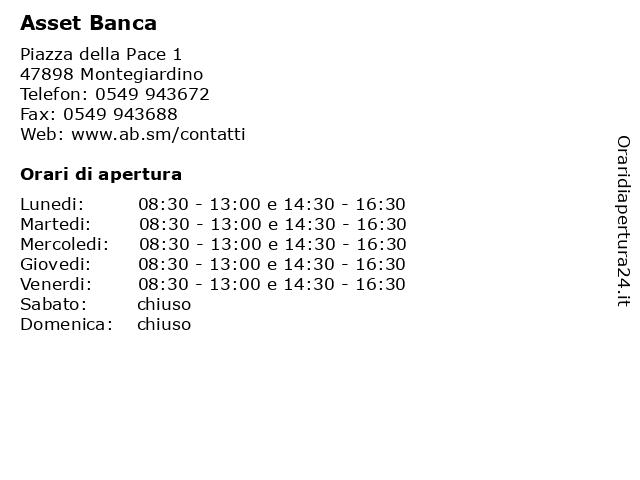 Asset Banca a Montegiardino: indirizzo e orari di apertura