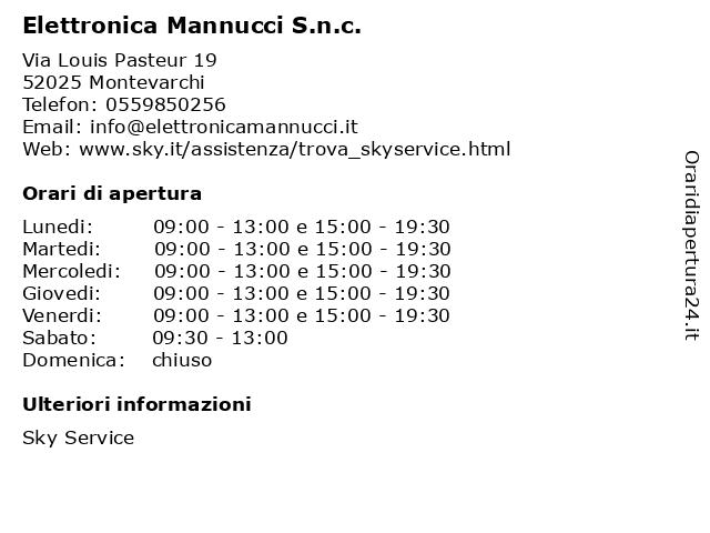 Elettronica Mannucci S.n.c. a Montevarchi: indirizzo e orari di apertura
