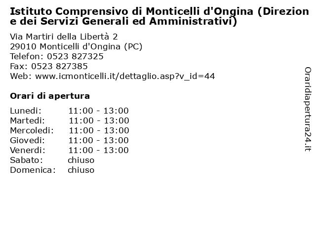 Istituto Comprensivo di Monticelli d'Ongina (Direzione dei Servizi Generali ed Amministrativi) a Monticelli d'Ongina (PC): indirizzo e orari di apertura