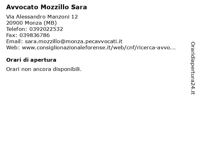 Avvocato Mozzillo Sara a Monza (MB): indirizzo e orari di apertura