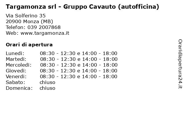 Targamonza srl - Gruppo Cavauto (autofficina) a Monza (MB): indirizzo e orari di apertura