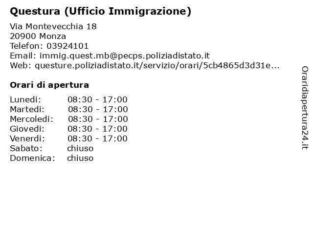 ᐅ Orari Di Apertura Commissariato Monza Ufficio Immigrazione Info Via Romagna