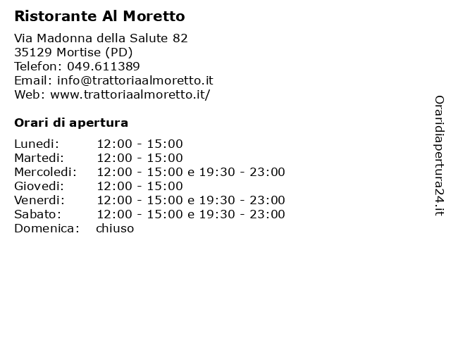 Ristorante Al Moretto a Mortise (PD): indirizzo e orari di apertura