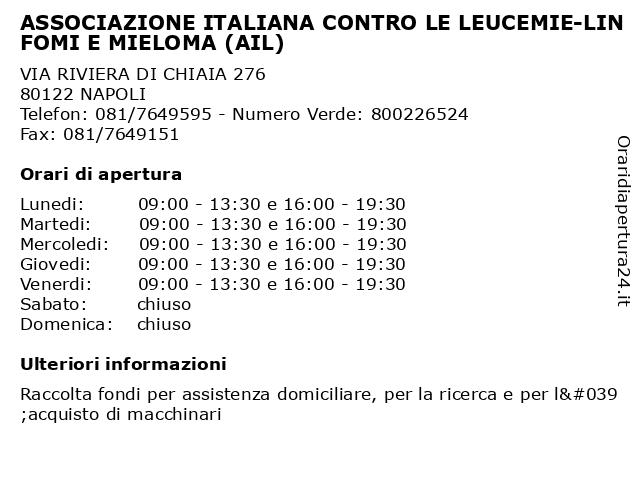 ASSOCIAZIONE ITALIANA CONTRO LE LEUCEMIE-LINFOMI E MIELOMA (AIL) a NAPOLI: indirizzo e orari di apertura