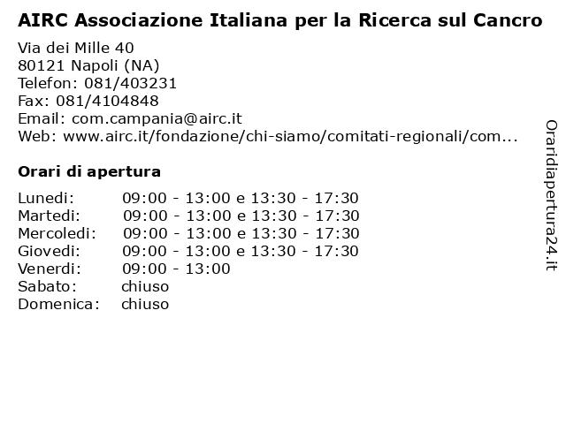 AIRC Associazione Italiana per la Ricerca sul Cancro a Napoli (NA): indirizzo e orari di apertura