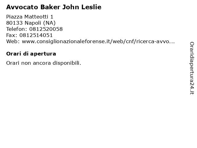Avvocato Baker John Leslie a Napoli (NA): indirizzo e orari di apertura
