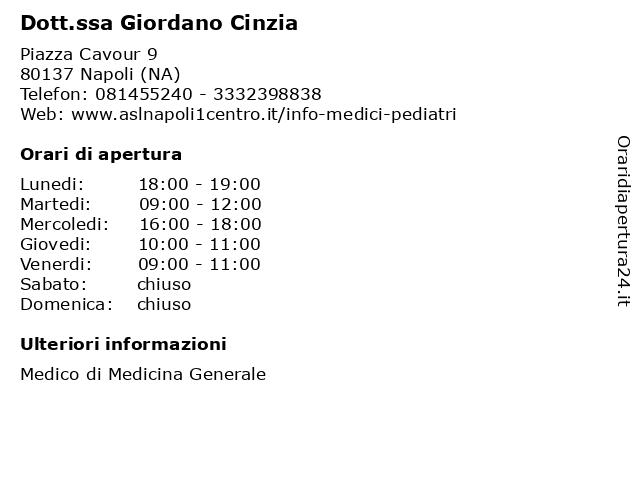 Dott.ssa Giordano Cinzia a Napoli (NA): indirizzo e orari di apertura