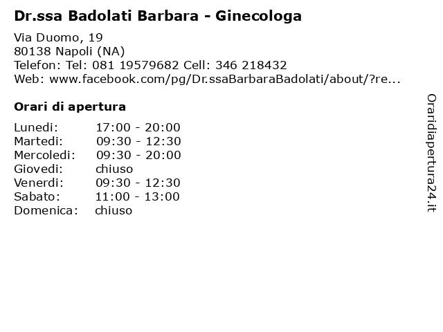 Dr.ssa Badolati Barbara - Ginecologa a Napoli (NA): indirizzo e orari di apertura