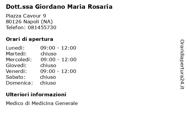Dr.ssa GIORDANO MARIA ROSARIA a Napoli (NA): indirizzo e orari di apertura