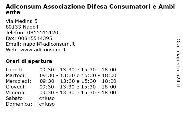 Adiconsum Associazione Difesa Consumatori e Ambiente a Napoli: indirizzo e orari di apertura