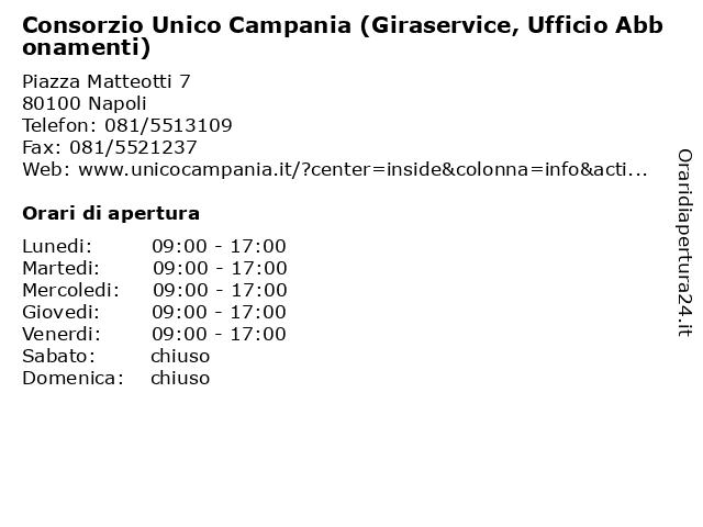 Consorzio Unico Campania (Giraservice, Ufficio Abbonamenti) a Napoli: indirizzo e orari di apertura