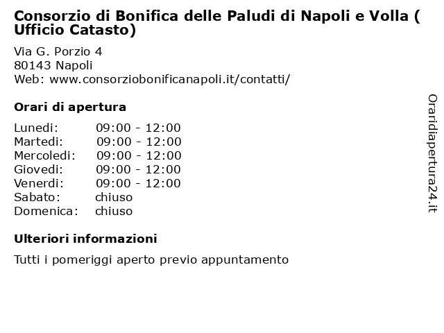 ᐅ Orari Consorzio Di Bonifica Delle Paludi Di Napoli E Volla Ufficio Catasto Via G Porzio 4 80143 Napoli