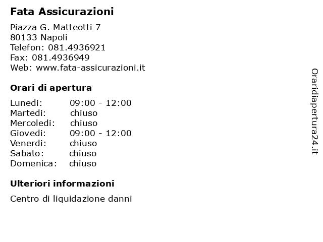 Fata Assicurazioni a Napoli: indirizzo e orari di apertura