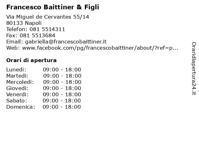 Francesco Baittiner & Figli a Napoli: indirizzo e orari di apertura
