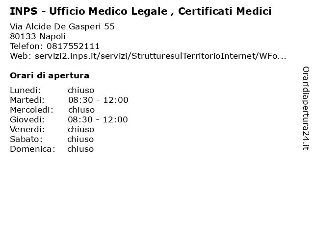 INPS - Ufficio Medico Legale , Certificati Medici a Napoli: indirizzo e orari di apertura