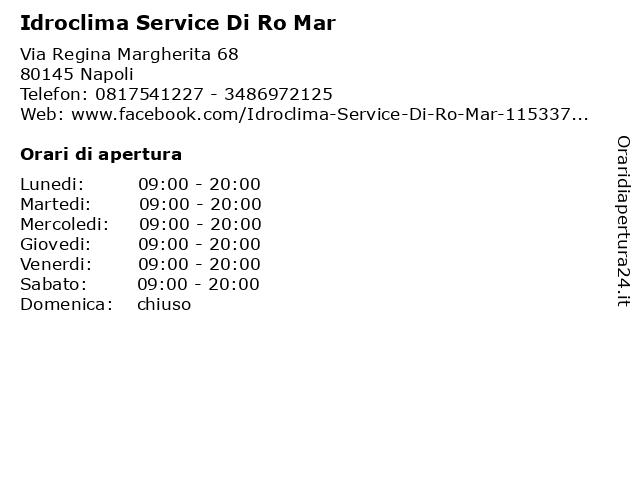 Idroclima Service Di Ro Mar a Napoli: indirizzo e orari di apertura