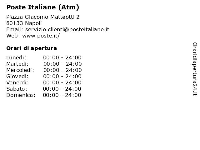 Poste Italiane (Atm) a Napoli: indirizzo e orari di apertura