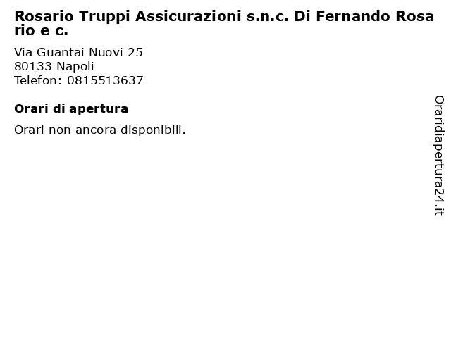 Rosario Truppi Assicurazioni s.n.c. Di Fernando Rosario e c. a Napoli: indirizzo e orari di apertura