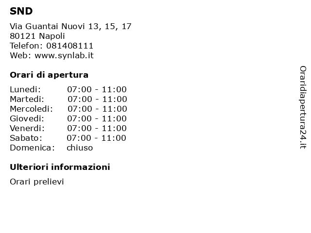 SND a Napoli: indirizzo e orari di apertura