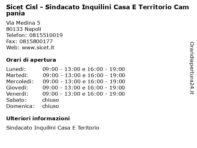 Sicet Cisl - Sindacato Inquilini Casa E Territorio Campania a Napoli: indirizzo e orari di apertura
