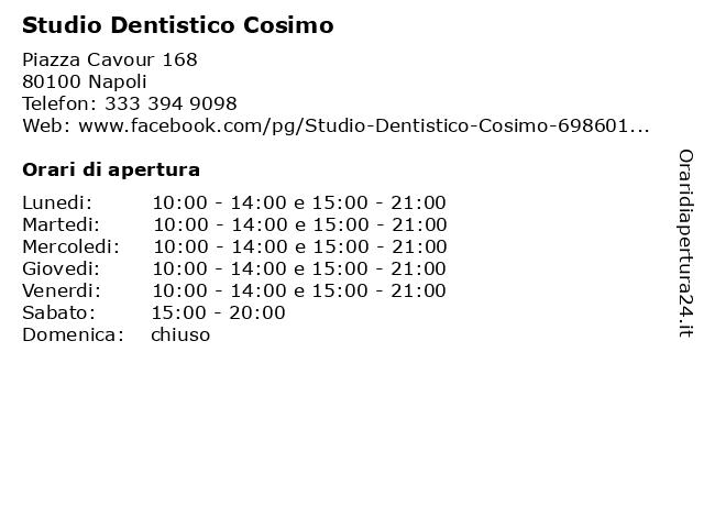 Studio Dentistico Cosimo a Napoli: indirizzo e orari di apertura