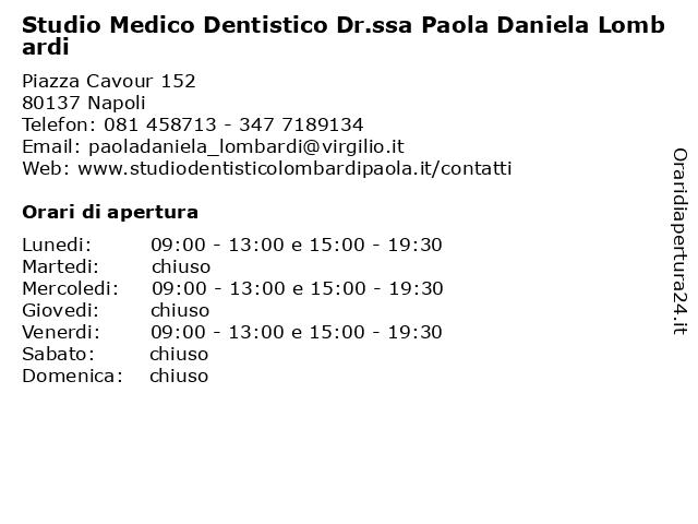 Studio Medico Dentistico Dr.ssa Paola Daniela Lombardi a Napoli: indirizzo e orari di apertura