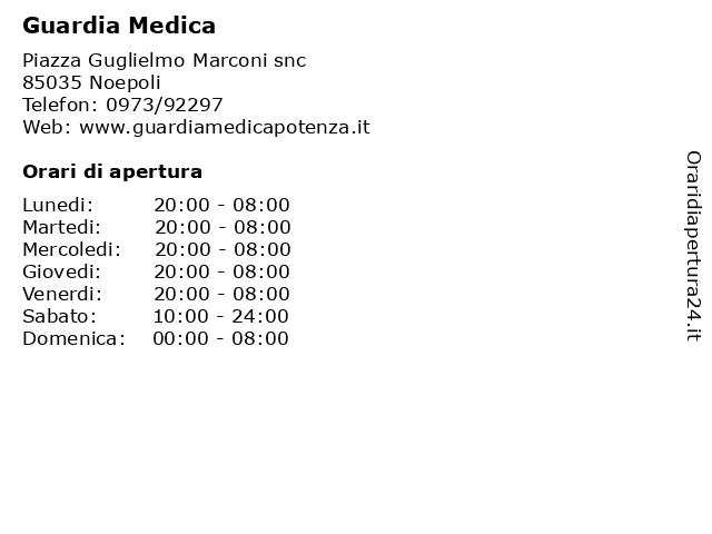 Guardia Medica a Noepoli: indirizzo e orari di apertura