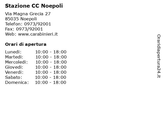 Stazione CC Noepoli a Noepoli: indirizzo e orari di apertura