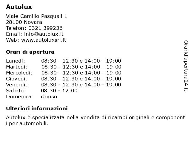 Autolux a Novara: indirizzo e orari di apertura