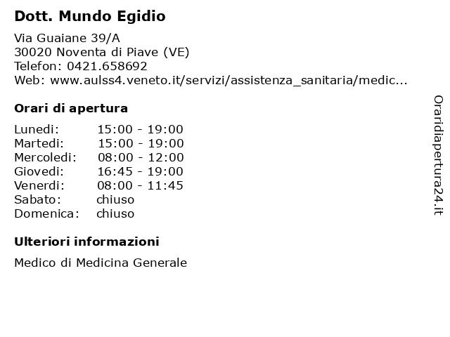 Dott. Mundo Egidio a Noventa di Piave (VE): indirizzo e orari di apertura