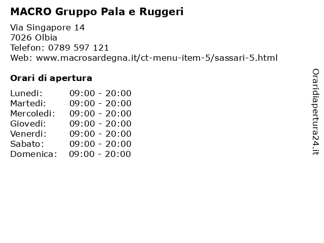 MACRO Gruppo Pala e Ruggeri a Olbia: indirizzo e orari di apertura