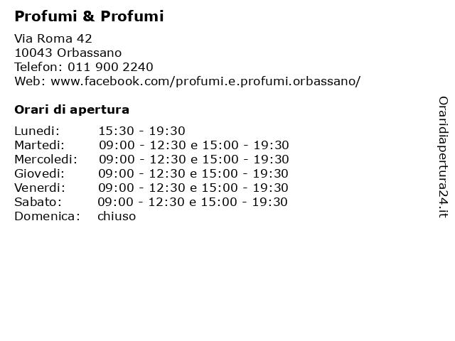 Á… Orari Profumi Profumi Via Roma 42 10043 Orbassano