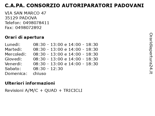 C.A.PA. CONSORZIO AUTORIPARATORI PADOVANI a PADOVA: indirizzo e orari di apertura