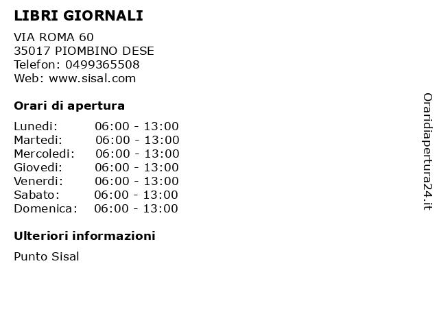 LIBRI GIORNALI a PIOMBINO DESE: indirizzo e orari di apertura