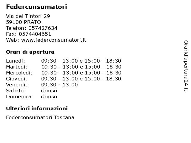 Federconsumatori a PRATO: indirizzo e orari di apertura
