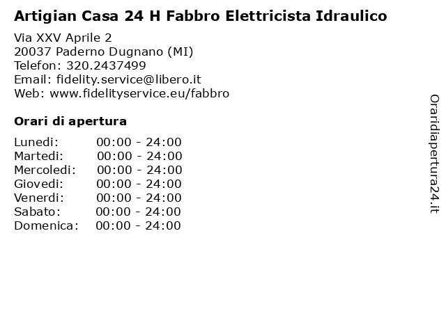 Artigian Casa 24 H Fabbro Elettricista Idraulico a Paderno Dugnano (MI): indirizzo e orari di apertura